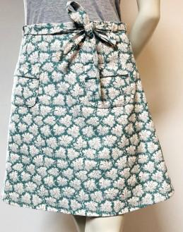 Jupe velours turquoise écru poches à passepoil 1