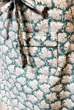 Jupe velours turquoise écru poches à passepoil 2