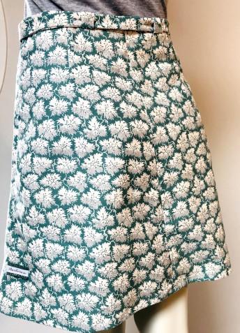 Jupe velours turquoise écru poches à passepoil 3