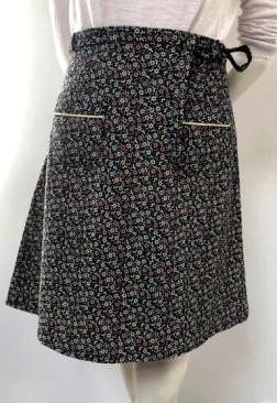 Jupe velours noire poche à passepoi