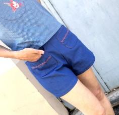 Short jean brodé corail 1