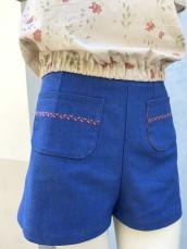 Short jean brodé corail 2